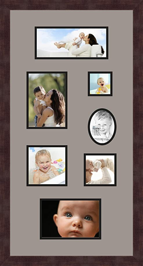 Art to Frames Double-Multimat-748-88/89-FRBW26061 Collage Frame Photo Mat Double Mat with 1 - 4x9, 5x7, 3x3, 5x5, 4x4, 5x7.5 and 3.5x4.5 Openings and Espresso frame