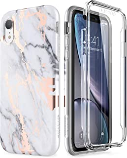 SURITCH Case for iPhone XR, [Built-in Screen Protector] Gold Marble Full-Body Protection Shockproof Rugged Bumper Protective Cover for iPhone XR 6.1 Inch (Gold Marble)