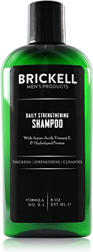 Brickell Men's Daily Strengthening Shampoo for Men, Natural and Organic Featuring Mint and Tea Tree Oil To Soothe Dry and Itchy Scalp, Sulfate Free and Paraben Free, 8 Ounce, Scented product image