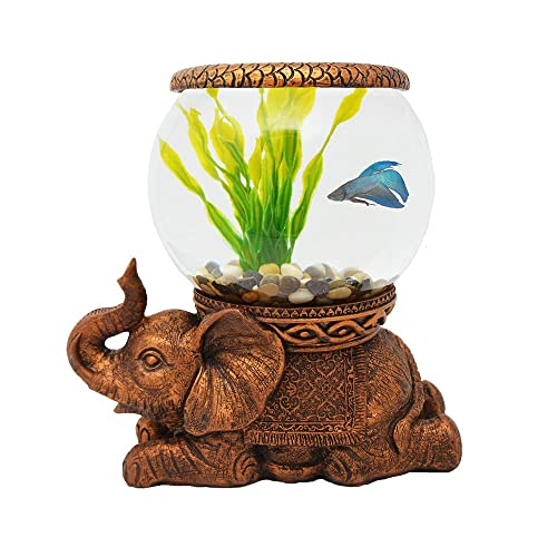 The Nifty Nook Exclusive Design New Good Luck Decorative Gold Antiqued Elephant Glass Fish Bowl Tabletop