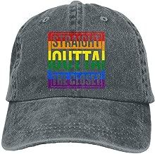 DeReneletrc Unisex Straight Outta The Closet Low Profile Plain Baseball Cap Vintage Washed Adjustable Dad Hat Funny Cap
