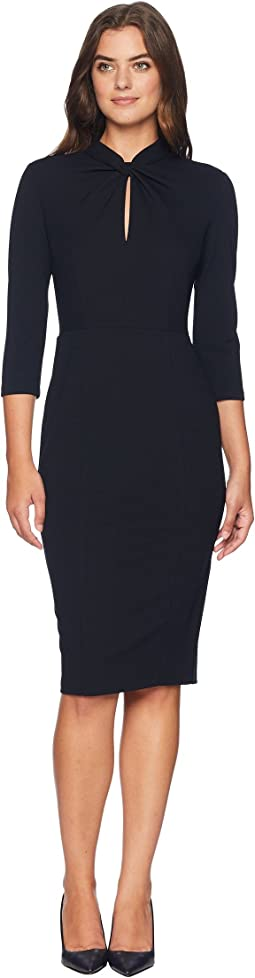 Long Sleeve Crepe Sheath with Twisted Neckline