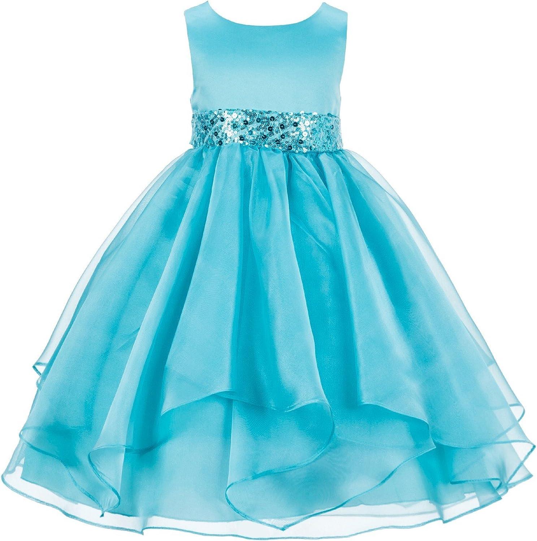 ekidsbridal Asymmetric Ruffled Organza Sequin Flower Girl Dress Princess Dresses 012S 6