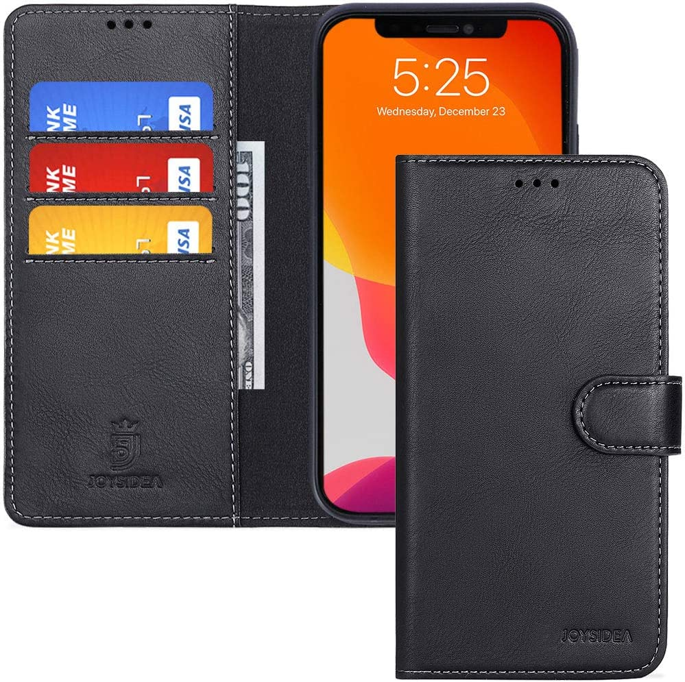 JOYSIDEA iPhone 11 Pro Leather Wallet Case, Premium PU Leather Slim Flip Folio Case with Card Holder, Kickstand and Shockproof TPU Cover for iPhone 11 Pro 5.8 inch, Black