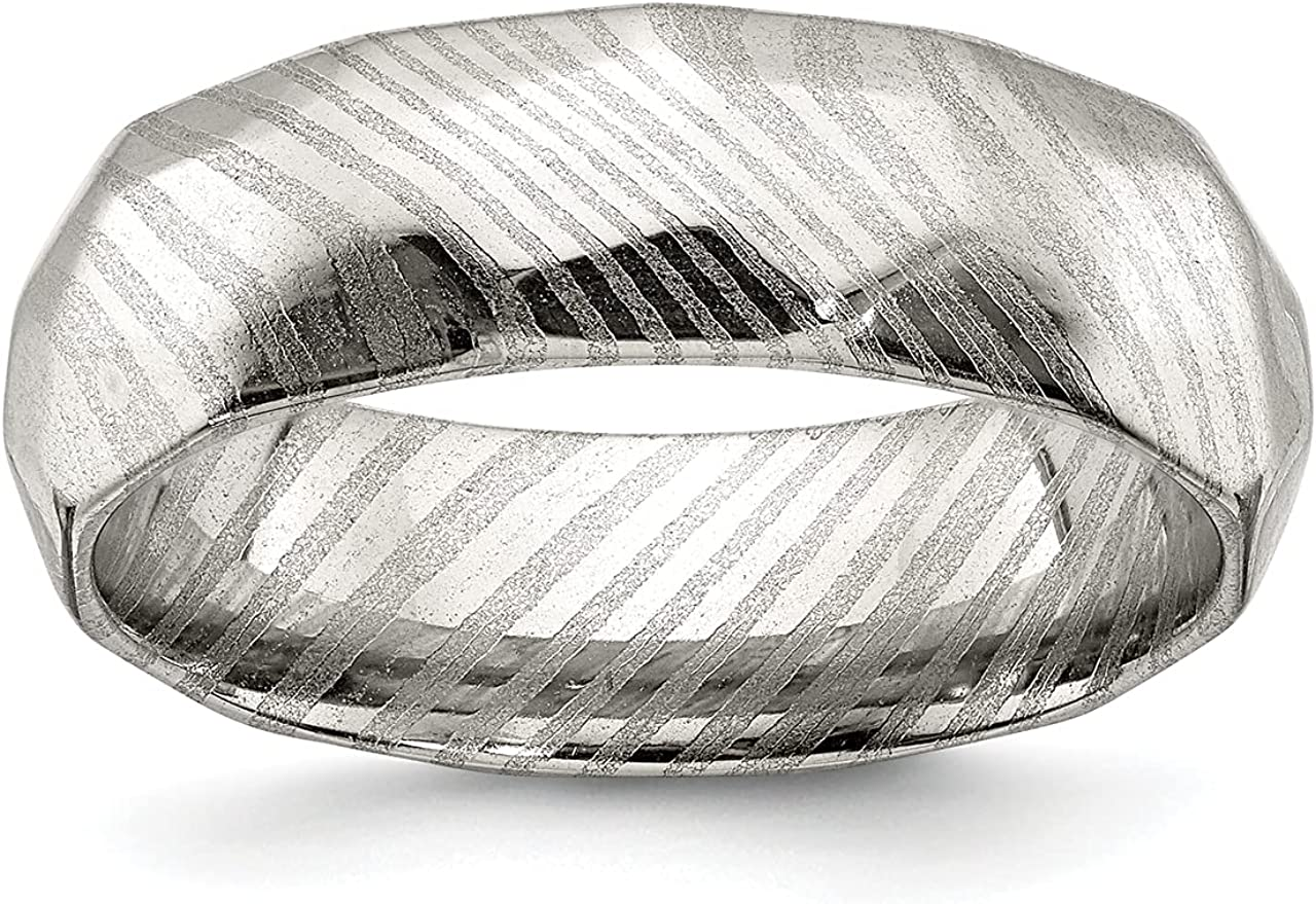 Lex Lu Damascus Steel Polished Faceted 7mm Band Ring 100% Sale SALE% OFF quality warranty