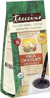 Teeccino Maca Chocolate Organic Chicory Herbal Coffee Alternative, Caffeine Free, Acid Free, Coffee Substitute, Prebiotic, 11 ounce