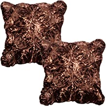 WOMHOPE Set of 2 Pcs 3D Solid Color Satin Rose Flower Square Pillowcase Bed Sofa Cushion Pillow Case Arts Decorative Cover Rose Flowers Throw Pillow Covers Protector(Brown 2)