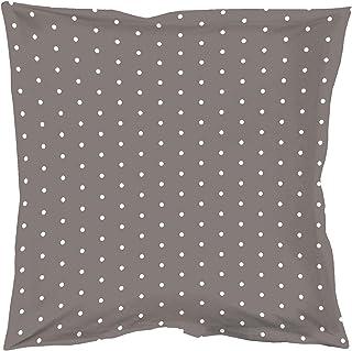 douceur d'intérieur 1641497 PIXA Taie d'oreiller Volant Plat Coton Taupe/Blanc 63 x 63 cm