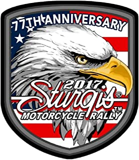2017 Sturgis Rally 77th Anniversary Eagle Flag Shield Patch 4 inch Biker Rally Patch