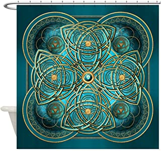 CafePress Teal Celtic Tapestry Decorative Fabric Shower Curtain (69