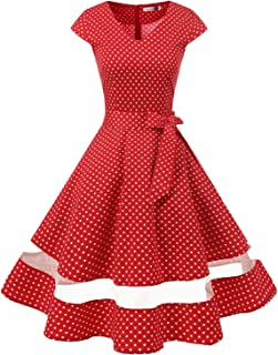 Women's 1950s Rockabilly Cocktail Party Dress Retro Vintage Swing Dress Cap-Sleeve V Neck
