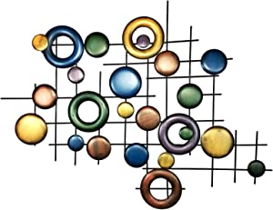 Bellaa 21826 Big Abstract Metal Wall Art 3D Modern Contemporary Geomentry Home Decor 32 inch