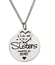 """""""Side By Side or Miles Apart, We Are Sisters Connected By Heart"""" Sister Necklace, Sister Necklaces for Women, Sister Gifts"""