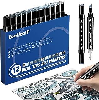 Marqueurs d'artiste gris, EooUooIP 12 couleurs marqueurs permanents à l'alcool, stylos à double pointe, pour le dessin arc...