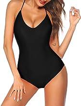 Ekouaer One Piece Swimsuit High-Waist Swimwear Women Monokini Sexy Cross Lace Up Low Back Bathing Suits