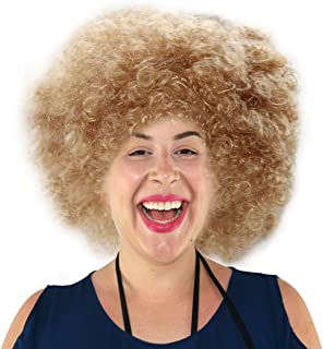 Blonde Afro Wig | 70's, Hippie, Disco Costume Wig, Funky Blonde Afro Puff Hair