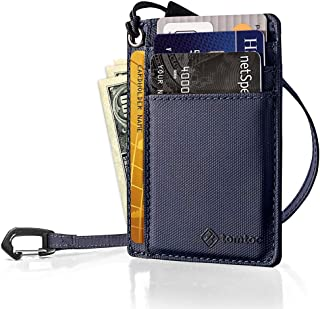 tomtoc Slim Front Pocket Wallet with Chain Minimalist Leather Credit Card Holder Organizer with Strap for Men Women, Dark ...