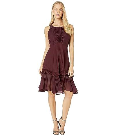 Halston Flounce Detail Pleated Dress (Syrah) Women