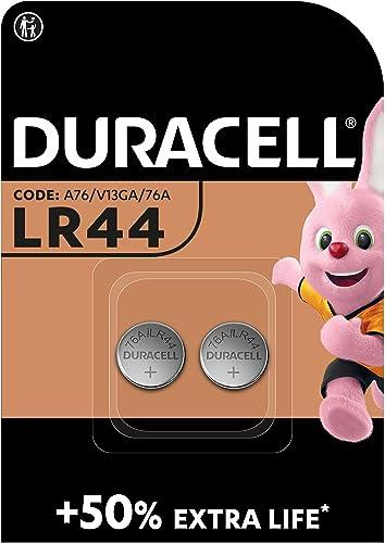 Duracell LR44 Pile Bouton Alcaline 1,5V 76A / A76 / V13GA pour Jouets, Calculatrices/Appareils de Mesure - Lot de 2