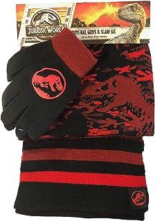 Jurassic World Fallen Kingdom Dinosaur Trex Red Black Hat Glove Scarf Set Boys