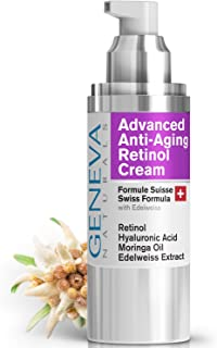 Night Retinol Cream - Natural Swiss Anti-Aging Formula Features Retinol, Hyaluronic Acid, Coconut Oil, Moringa Oil, Vitamin E For Men & Women - 1oz