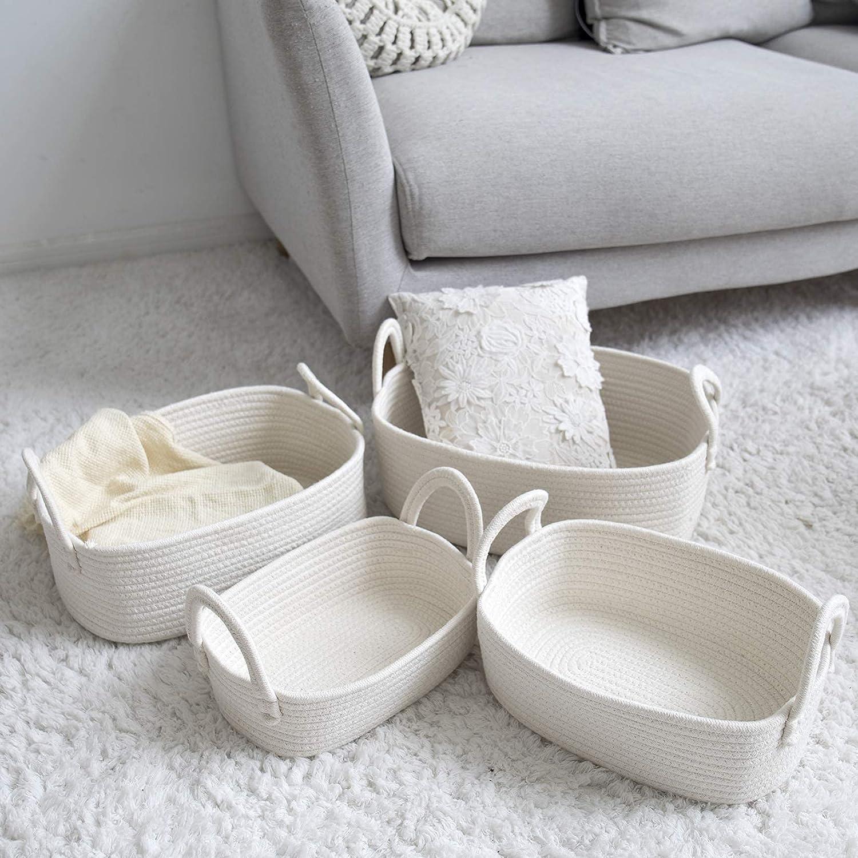 Storage Baskets Set of 4 - Woven Basket Cotton Rope Bin, Small White Basket Organizer for Baby Nursery Laundry Kid's Toy