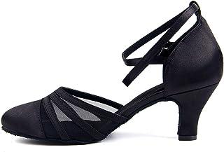 Naudamp Femmes Fermé Toe Talons Hauts Satin Mesh Salsa Latin Tango Chaussures De Danse De Salon