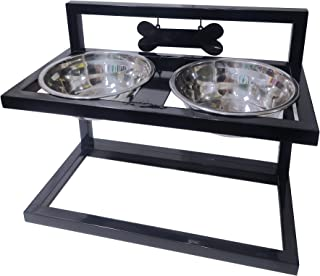 FUNWOOD Elevated Pets Raised Bowls Stand Dogs Feeding & Watering Supplies Adjustable to 3 Heights