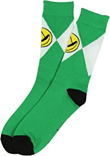 Mighty Morphin Power Rangers Mens Crew Socks (Green) 10-13