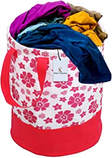 Kuber Industries Flower Printed Waterproof Canvas Laundry Bag, Toy Storage, Laundry Basket Organizer 45 L (Pink) CTKTC034620