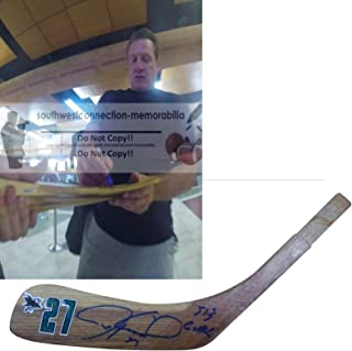 Jeremy Roenick San Jose Sharks Autographed Hand Signed SJ Sharks Logo Hockey Stick Blade with 513 Goals Inscription and Exact Proof Photo of Signing, COA