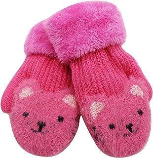 Kids Knit Mittens Girls Boys Warm Thick Cuff Full Finger Gloves Cute Bear Fleece-lined Winter Gloves
