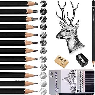 Sketch Pencil Set, 12Pcs Professional Drawing Artist Pencils set Drawing Pencils 14B 12B 10B 8B 6B 4B 2B B HB H 2H 4H for...
