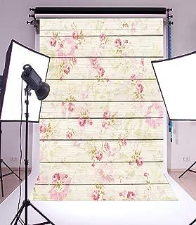 Leowefowa 3x5FT Floral Backdrop Vinyl Photography Background Retro Flowers Pattern on Shabby Chic Texture Stripes Wood Plank Romantic Baby Kids Girls 1(W) x1.5(H) m Photo Studio Props
