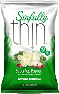Sinfully Thin Popcorn Super Pop Gluten Free Popcorn with Sea Salt, 2.2 Ounce, 6 Count