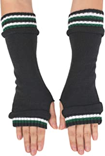 Flammi Women's Fashion Knit Arm Warmers with Thumb Hole Long Half Fingerless Mittens Gloves Striped Cuff
