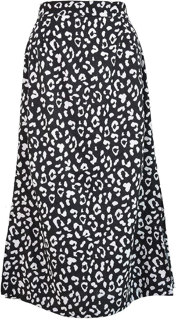 Fulision Women's Casual Elegant Printing Slit Outdoor Leopard Soft Midi Skirt