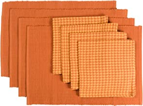 Now Designs Houndstooth Table, Persimmon, Set of 8