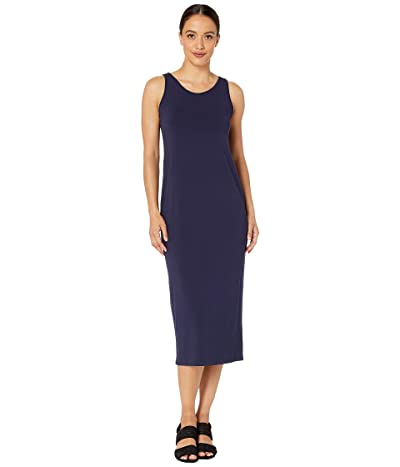 Eileen Fisher Petite Viscose Jersey Scoop Neck Dress (Midnight) Women