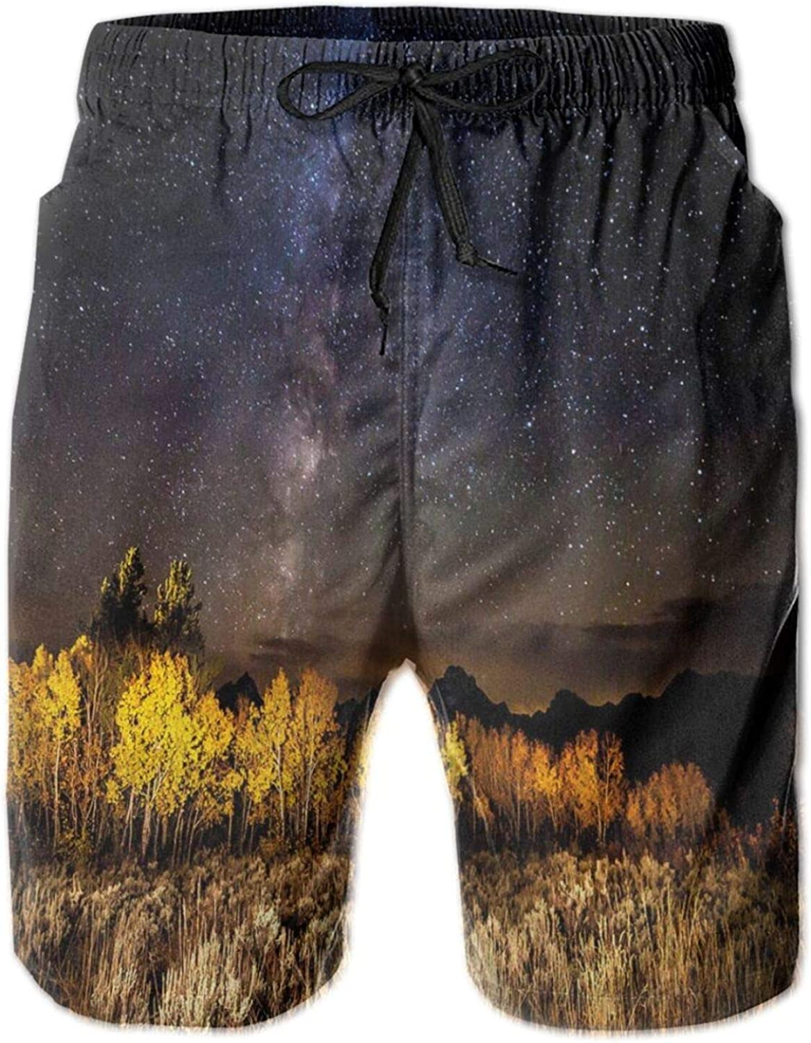 Starry Autumn Night View Photo with Amazing Milky Way Aspen Trees and Tetons Mens Swim Shorts Casual Workout Short Pants Drawstring Beach Shorts,XXL