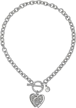 GUESS - Logo Overlay On Pave Heart Charm Toggle Front Necklace