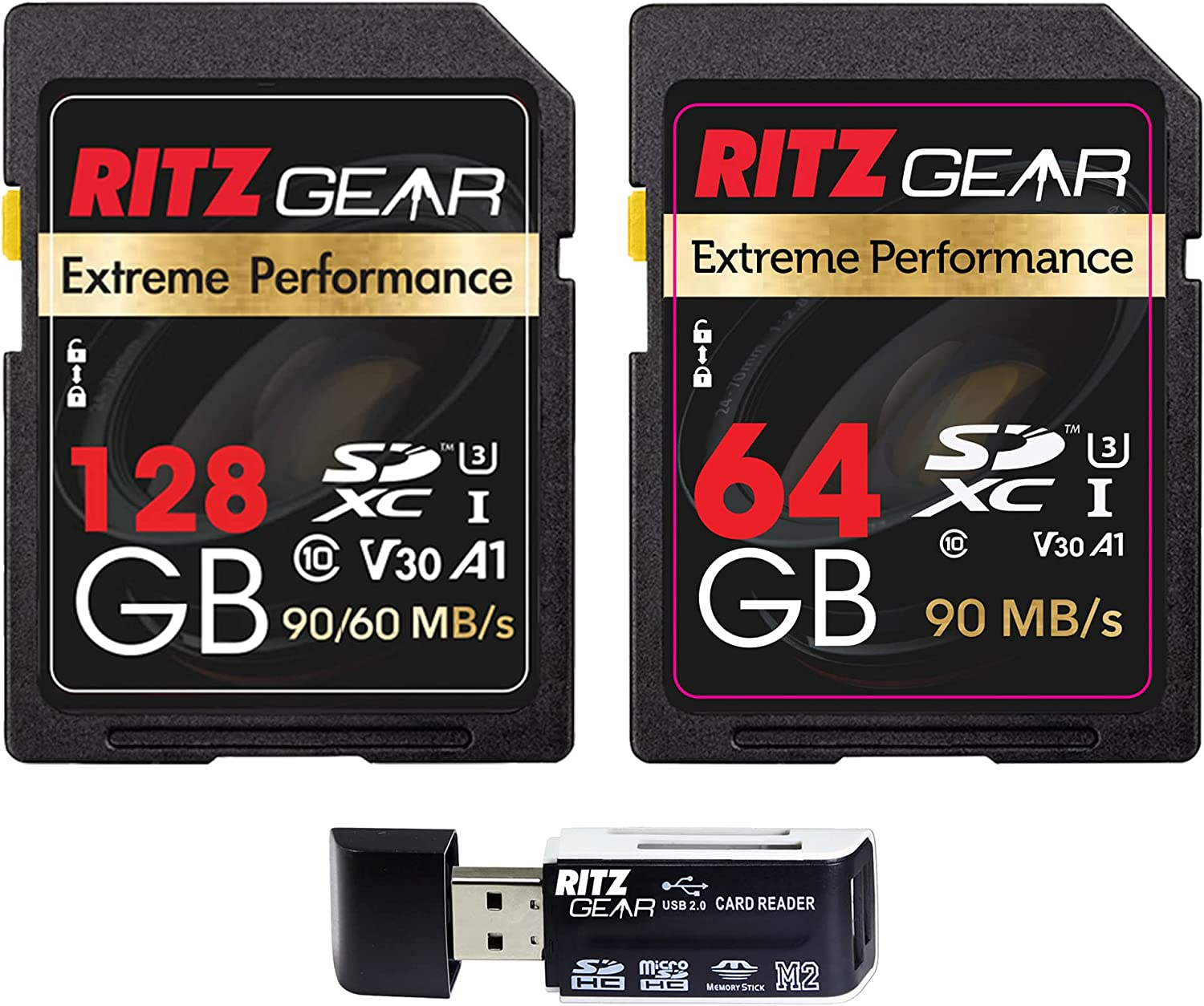 Extreme Performance Combo Set of High Speed UHS-I SDXC 128GB SD Card 90/60 MB/S U3 A1 Class-10 V30 Memory + 64GB Memory Card+ Ritz Gear Card Reader