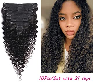 Deep Wave Curly Clip In Hair Extensions Human Hair Natural Black Color 10Pcs/Set 120Gram (18, deep wave)