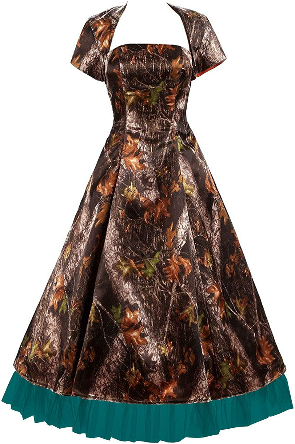 DINGZAN Puffy Tea Length Camo Motherof The Bride Dresses with Short Sleeve Jacket
