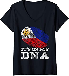 Womens It's In My DNA Philippine Gift Filipino Tee Philippines Flag V-Neck T-Shirt