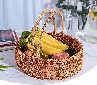 MAHFEI Corbeille À Fruits en Rotin, Corbeille À Pain avec Poignée Panier De Rangement Boîte De Rangement pour Collations B...