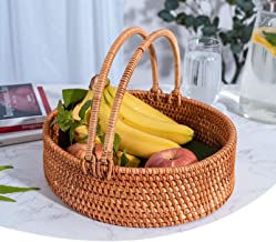 MAHFEI Rattan Woven Fruit Basket, Bread Roll Basket With Handle Storage Basket Snack Storage Box Beautiful And Strong Rest...
