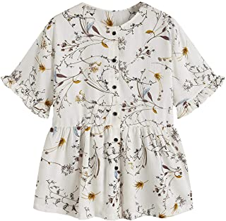 SheIn Women's Casual Floral Print Button Down Ruffle Short Sleeve Peplum Blouse Top Shirt