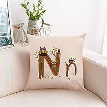 JR Fashion English Alphabet Linen Hug Pillowcase Car Sofa Pillow Cushion Cover Models Linen Pillows Sofa Bedroom Pillow Case Creative English Letters Home Decor European Style Cute Pillowcase (N)