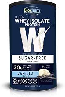 Biochem 100% Whey Isolate Protein - 11.8 oz - Sugar Free Vanilla - 20g Vegetarian Protein - Keto-Friendly - Amino Acids - ...